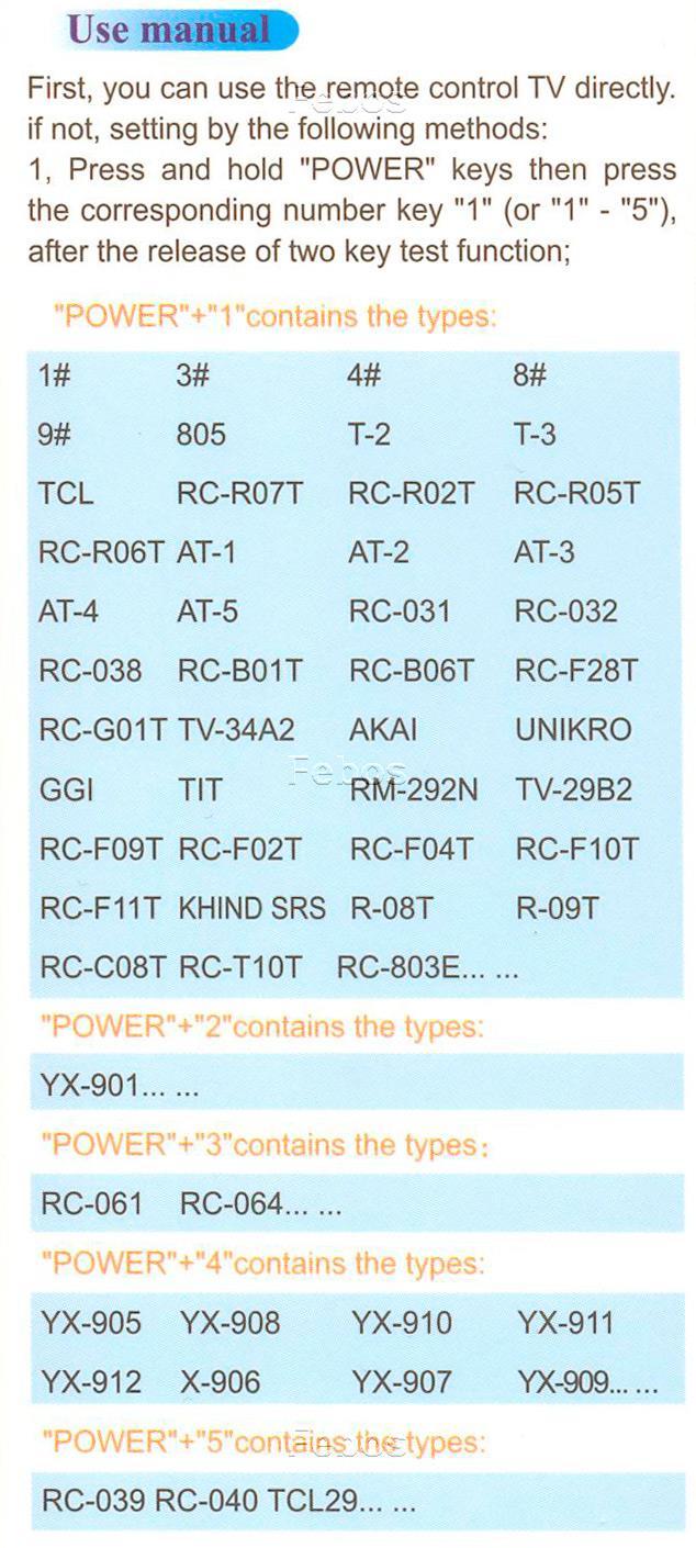 универсальный пульт huayu коды для телевизора tcl инструкция